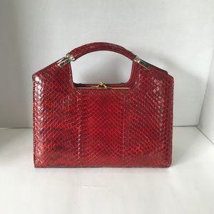 Red Snake Skin Handbag Elegant Vintage Kelly Style
